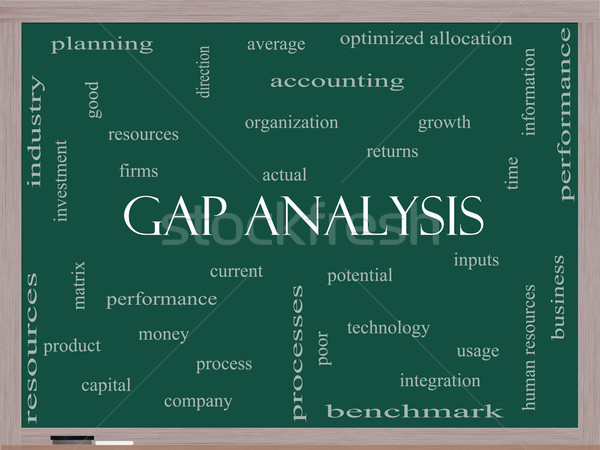 Gap Analysis Word Cloud Concept on a Blackboard Stock photo © mybaitshop