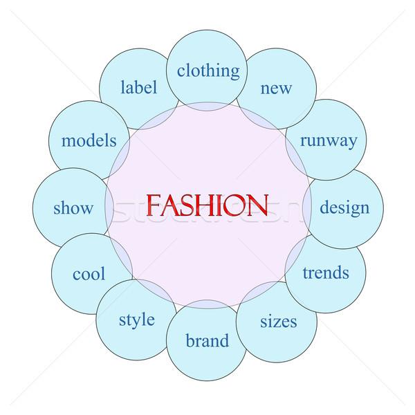 Mode Rundschreiben Wort Diagramm rosa blau Stock foto © mybaitshop