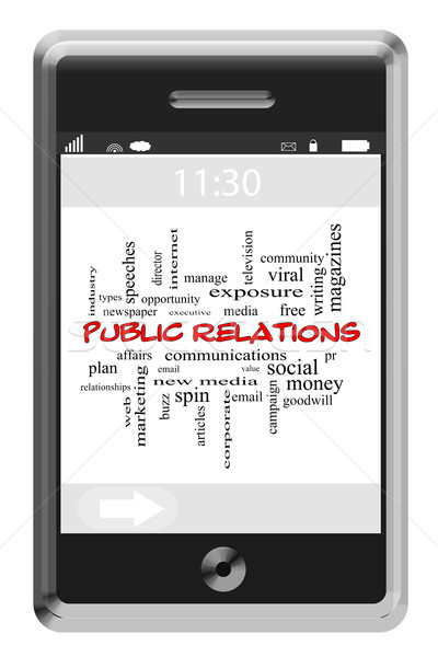 Public Relations Word Cloud Concept on a Touchscreen Phone Stock photo © mybaitshop