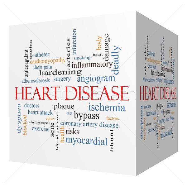 Kalp hastalığı 3D küp kelime bulutu muhteşem Stok fotoğraf © mybaitshop
