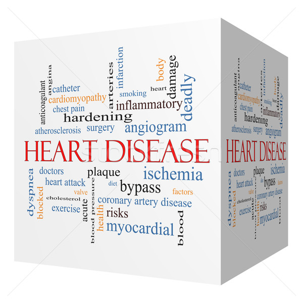 Hartziekte 3D kubus woordwolk groot Stockfoto © mybaitshop