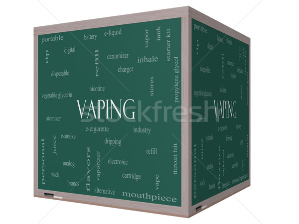 Vaping Word Cloud Concept on a 3D cube Blackboard Stock photo © mybaitshop