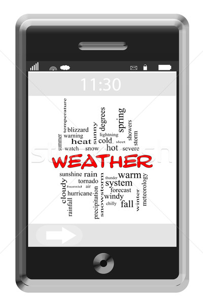 Stock photo: Weather Word Cloud Concept on a Touchscreen Phone