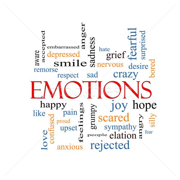 Stockfoto: Emoties · woordwolk · groot · triest · gelukkig · vreugde