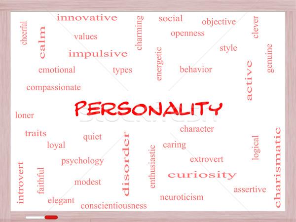 Personality Word Cloud Concept on a Whiteboard Stock photo © mybaitshop