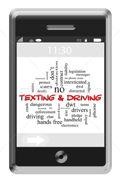 Texting and Driving Word Cloud Concept on a Touchscreen Phone Stock photo © mybaitshop