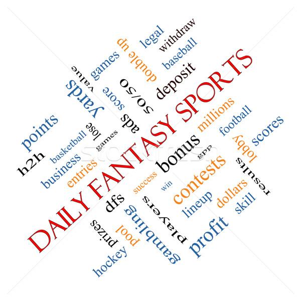 Foto stock: Diariamente · fantasia · esportes · nuvem · da · palavra · jogos
