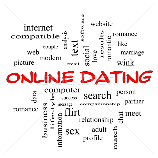 Online Dating Cloud Concept in red caps Stock photo © mybaitshop