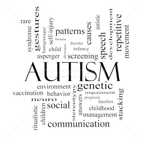 Autism Word Cloud Concept in black and white Stock photo © mybaitshop