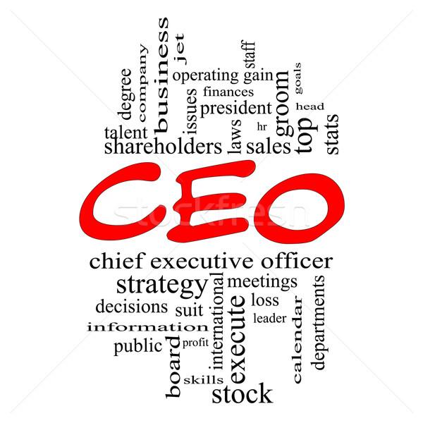 Stock fotó: Igazgató · szófelhő · piros · nagyszerű · vezető · több