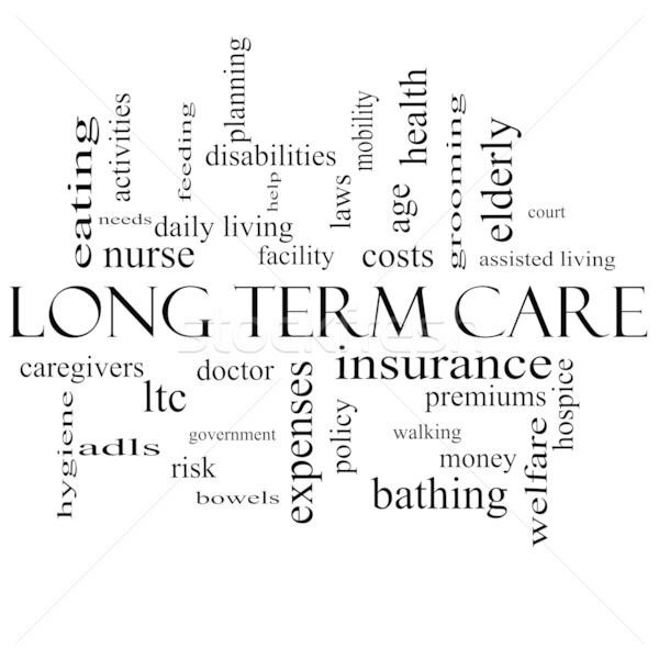 Stock photo: Long Term Care Word Cloud Concept in black and white