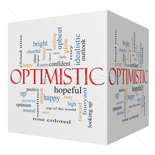 Optimistic 3D cube Word Cloud Concept Stock photo © mybaitshop