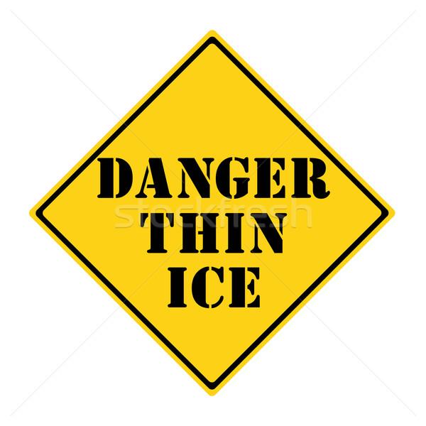 опасность тонкий льда знак желтый черный Сток-фото © mybaitshop