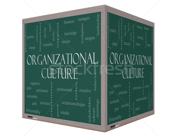 Organizational Culture Word Cloud Concept on a 3D cube Blackboard Stock photo © mybaitshop