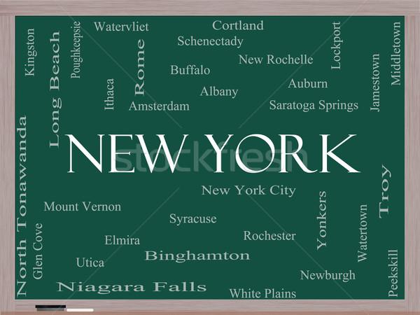 New York State Word Cloud Concept on a Blackboard Stock photo © mybaitshop