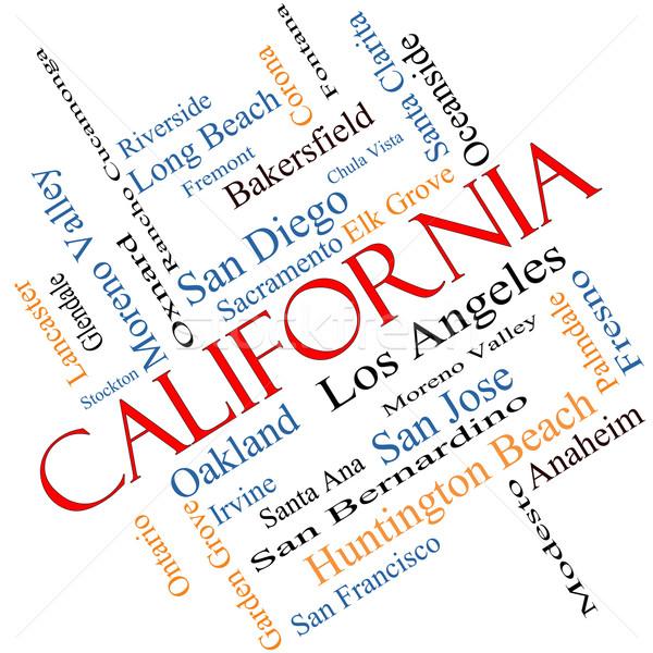 Kaliforniya kelime bulutu 30 şehirler Los Angeles Stok fotoğraf © mybaitshop