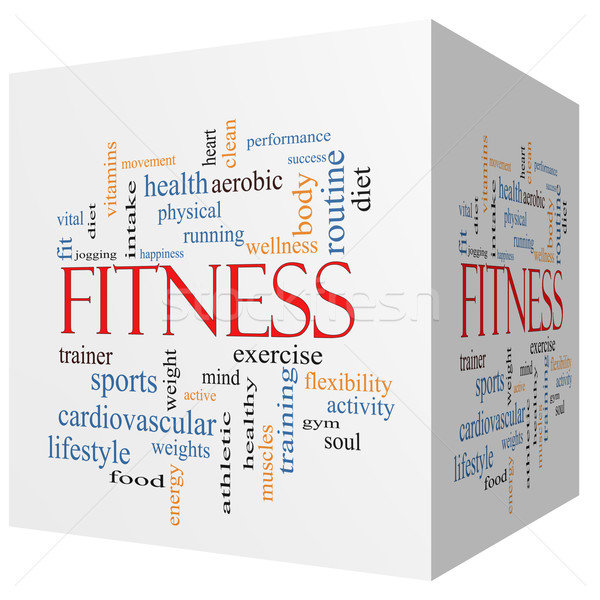 Fitness 3D cube Word Cloud Concept Stock photo © mybaitshop