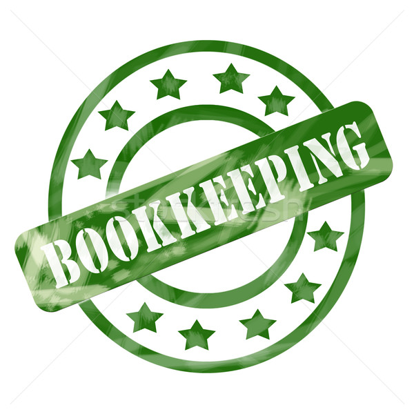 Green Weathered Bookkeeping Stamp Circles and Stars Stock photo © mybaitshop
