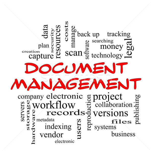 Document Management Word Cloud Concept in red caps Stock photo © mybaitshop