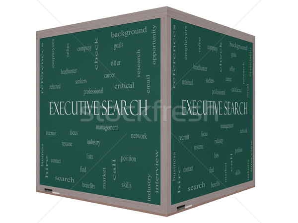 Executive Search Word Cloud Concept on a 3D cube Blackboard Stock photo © mybaitshop