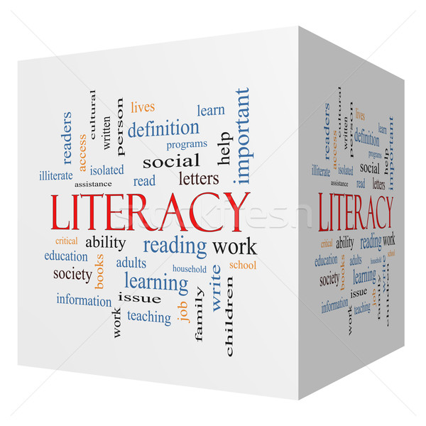 Literacy 3D cube Word Cloud Concept Stock photo © mybaitshop