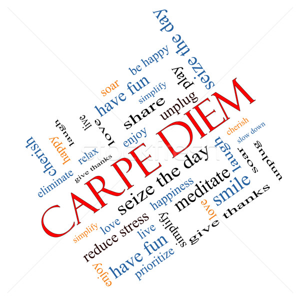 Carpe Diem Word Cloud Concept Angled Stock photo © mybaitshop