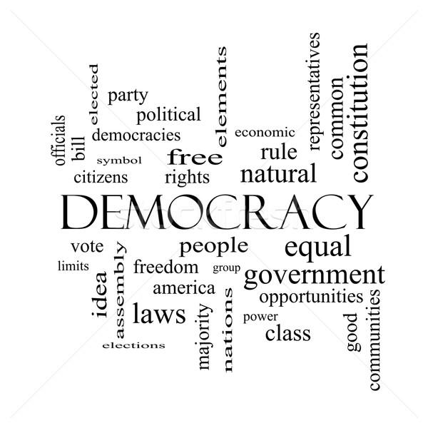 демократия слово облако черно белые люди правые Сток-фото © mybaitshop