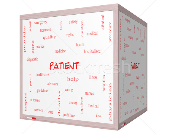 Stock photo: Patient Word Cloud Concept on a 3D cube Whiteboard