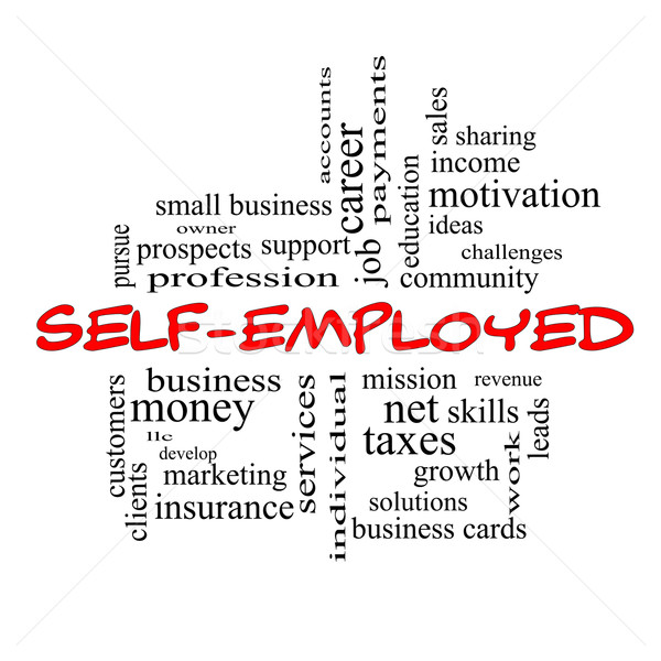 Self-Employed Word Cloud Concept in red caps Stock photo © mybaitshop