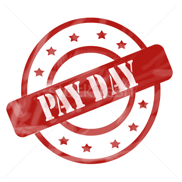 Red Weathered Pay Day Stamp Circles and Stars Stock photo © mybaitshop