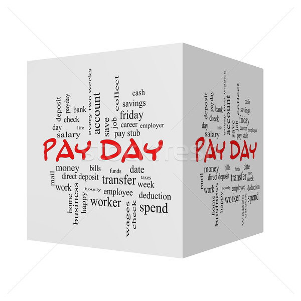 Pay Day 3D cube Word Cloud Concept in red caps Stock photo © mybaitshop