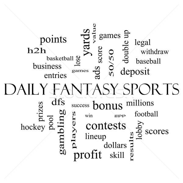 ежедневно фантазий спортивных слово облако черно белые Сток-фото © mybaitshop