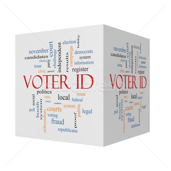 Voter ID 3D cube Word Cloud Concept  Stock photo © mybaitshop