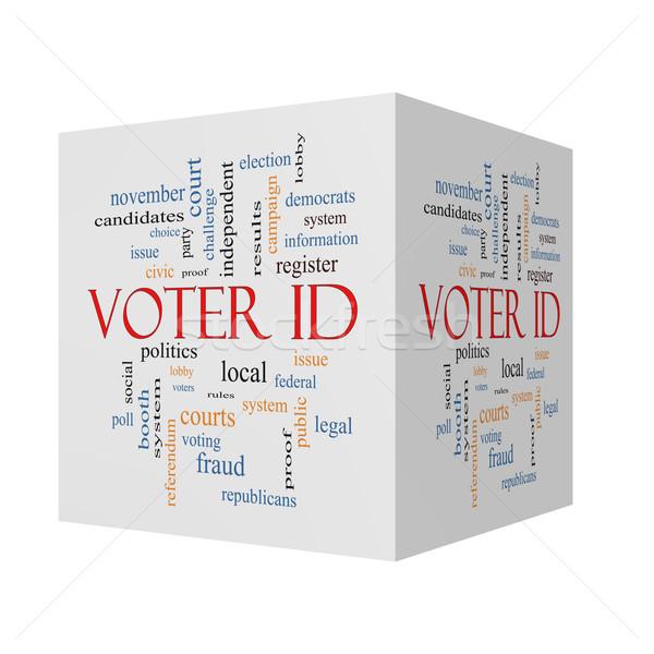 Szavazó személyi igazolvány 3D kocka szófelhő nagyszerű Stock fotó © mybaitshop