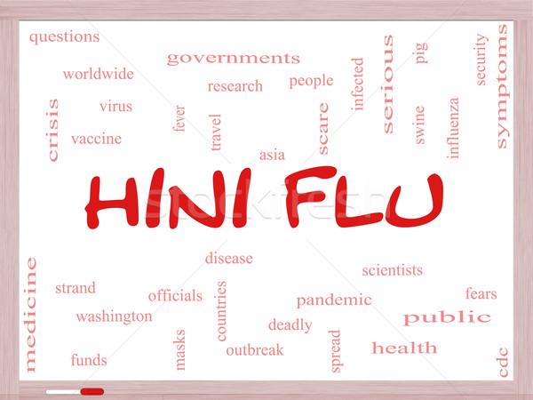 H1n1 gripe nube de palabras fiebre Foto stock © mybaitshop