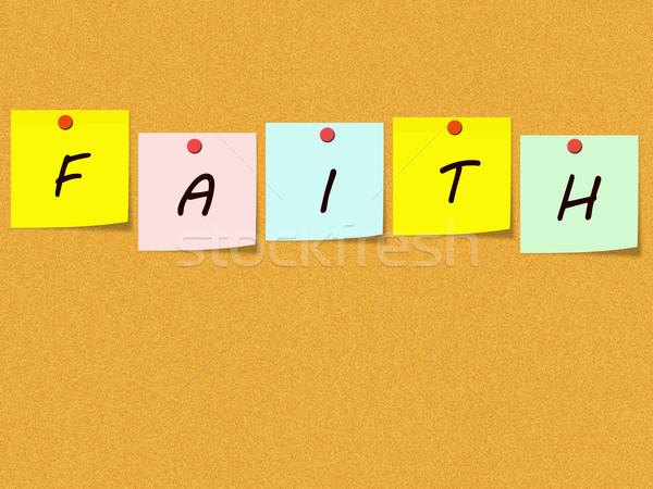 Faith Sticky Notes on Corkboard Stock photo © mybaitshop