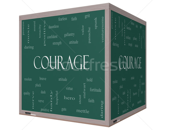 Courage Word Cloud Concept on a 3D cube Blackboard Stock photo © mybaitshop