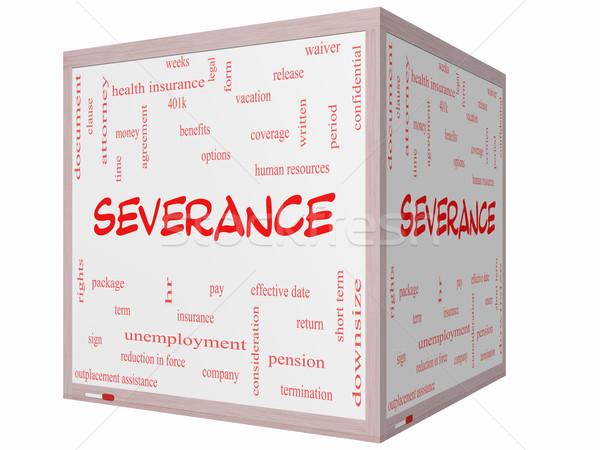 Severance Word Cloud Concept on a 3D cube Whiteboard Stock photo © mybaitshop