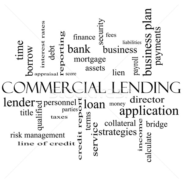 Commercial Lending Word Cloud Concept in black and white Stock photo © mybaitshop