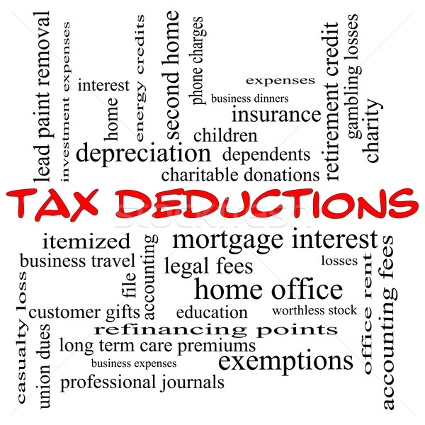 Tax Deductions Word Cloud Concept in red caps Stock photo © mybaitshop