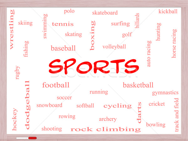 Sports Word Cloud Concept on a Whiteboard Stock photo © mybaitshop