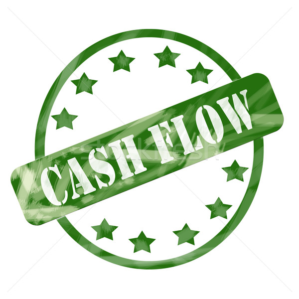 Green Weathered Cash Flow Stamp Circle and Stars Stock photo © mybaitshop