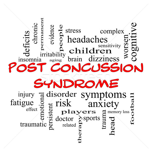Post Concussion Syndrome Word Cloud Concept in red caps Stock photo © mybaitshop