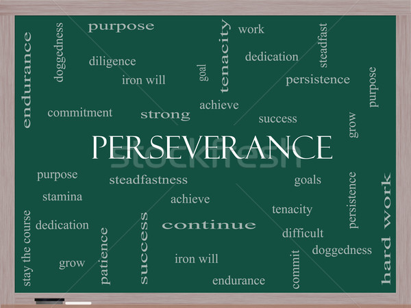 Perseverance Word Cloud Concept on a Blackboard Stock photo © mybaitshop
