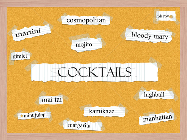 Cocktails palavra cosmopolita mojito martini Foto stock © mybaitshop