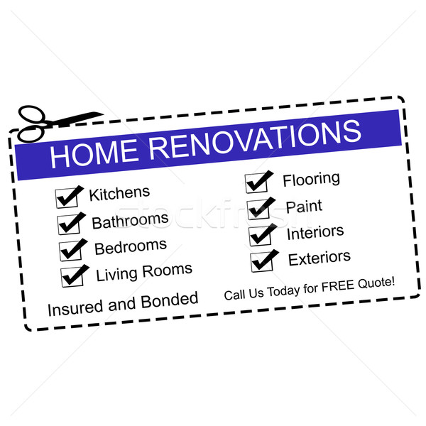 Home Renovations blue coupon Stock photo © mybaitshop