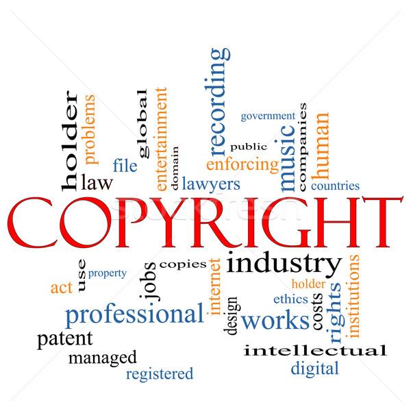 Сток-фото: авторское · право · слово · облако · Правительство · музыку · промышленности · цифровой