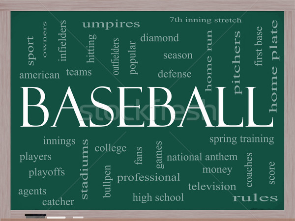 Baseball Word Cloud Concept on a Blackboard Stock photo © mybaitshop