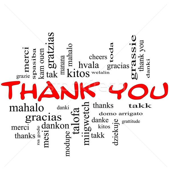 Thank You Word Cloud Concept in Red Caps Stock photo © mybaitshop