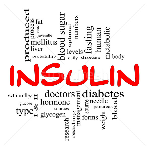 Insulin Word Cloud Concept in Red & Black Stock photo © mybaitshop